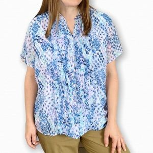 TanJay Blue Floral Pleated Top Size 16P